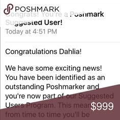 I'm a Suggested User!!! Pop the champagne! I'm so excited to be a part of Poshmark's Suggested User program. Accessories