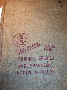 Burlap Sack Rustic French for pillowshome and by lamoneeboutique, $7.95