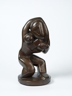 """Our work of the week is Henri Gaudier-Brzeska's 'Red Stone Dancer' (1913-1914), currently on show as part of New Rhythms exhibition at Harewood House, Leeds. Gaudier-Brzeska's partner Sophie described the work as """"a monster descended from the stars"""".  Red Stone dancer demonstrates Gaudier-Brzeska's use of a more abstract style and reflects his interest in the 'primitive' artefacts he visited in the British Museum."""