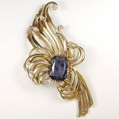 DeRosa Sterling Gold Swirls and Table Cut Sapphire Flower Pin Clip