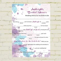 Mad libs bridal shower edition fun floral pdf version rings wedding pinterest - Haze her shower ...