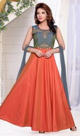 Orange and Gray Color Silk Long Anarkali Suit #anarkalistyle #anarkalisuitforkids Do not be taken aback as you transform into a fairy tale princess as you are clad in this orange and gray color silk long Anarkali suit. The ethnic lace and resham work for the attire adds a sign of attractiveness statement for the look. USD $ 139 (Around £ 96 & Euro 106)