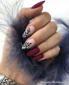 36 Perfect and Outstanding Nail Designs for Winter dark color nails; nude and sparkle nails; Burgundy Nail Designs, Classy Nail Designs, Burgundy Nails, Winter Nail Designs, Red Nails, Nail Art Designs, Nails Design, Matte Nails, Purple Nail