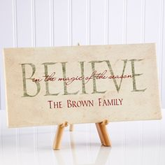 "Make your home more festive this Christmas with the Believe in Christmas Personalized Canvas Print- 5½"" x 11"". Find the best personalized Christmas gifts at PersonalizationMall.com"
