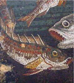 Marine Life Mosaic from House VIII Pompeii demonstrating the vermiculatum technique Roman 2nd century BCE, Detail of photo by Mary Harrsch