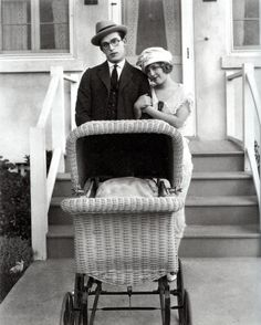 kylarose: Harold Lloyd and Mildred Davis in I Do, scanned from Harold Lloyd: Master Comedia Old Hollywood Glamour, Hollywood Walk Of Fame, Silent Comedy, Harold Lloyd, Silent Film Stars, Comedy Films, Baby Carriage, Moving Pictures, Film Director