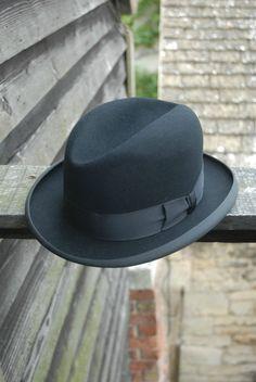 609eb82b284 Vtg 50 s Black Fur Felt Excellent Quality Homburg