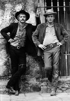 Robert Redford and Paul Newman pose for a publicity shot on the Mexican set of Butch Cassidy and the Sundance Kid in 1968.