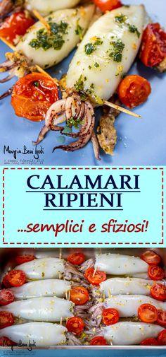 Calamari ripieni - Reality Worlds Tactical Gear Dark Art Relationship Goals Shellfish Recipes, Seafood Recipes, Beef Recipes, Cooking Recipes, Healthy Pasta Recipes, Raw Vegan Recipes, Italian Recipes, Food Wishes, Fish And Seafood
