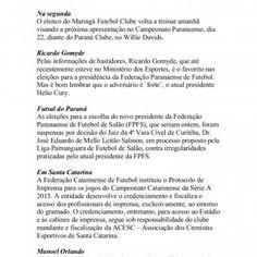 ORLANDO GONZALEZ orlandogonzalez@radiomaringa.com.br Na segunda O elenco do Maringá Futebol Clube volta a treinar amanhã visando a próxima apresentação no C. http://slidehot.com/resources/esporte-maringa-coluna-dois-toques-15-02.24932/