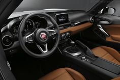 Interior for the new Fiat Abarth Spider in 2017 Fiat Abarth, Mazda Mx 5, Mercedes Slk, New Fiat, Fiat 124 Spider, Fiat Cars, Steyr, Fiat 500, New And Used Cars