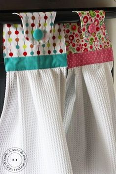 "DIY Cute kitchen towels ... attached so baby girl doesn't take them down and ""mop"" the floor with my clean towels!"