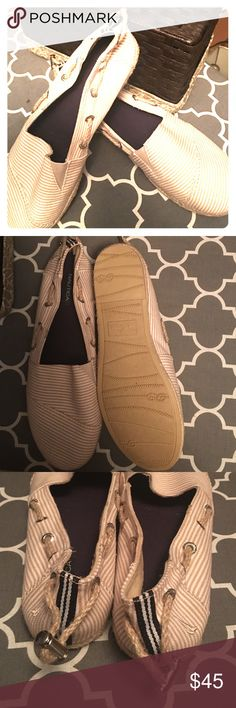 Nautica women's size 9 boat shoes Never worn out of the house! LIKE NEW Nautica brand boat shoes, tan stripe with rope detail! These are so cute, I'm just a Sperry girl 🙂 Nautica Shoes Flats & Loafers