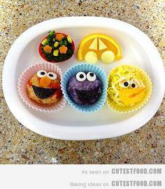 Fun Food Kids Sesame Street Rice balls bento Reis bälle elmo krümelmonster bibo