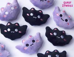 Hairclip kawaii bat bats in black or lavender fluffy pastel