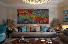 Jackson Pollock style Drip Art Painting large Abstract paintings Red Teal blue abstract art Modern Wall Artwork oversize canvas painting