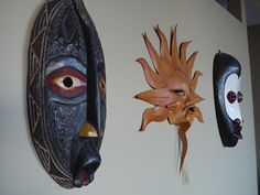 the two wooden masks are made in Ghana