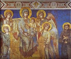 ** Cimabue. Madonna with Angels and St. Francis. Detail. Fresco. Basilica in San Francesco, Assissi, Italy.