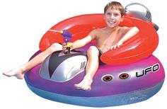 Get your kids ready for space travel to alien water worlds with the SplashNet Xpress UFO 45 Inch Spaceship. Made from heavy gauge vinyl this retro single pilot inflatable is equipped with a constant ...