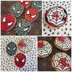Spiderman sugar cookies. More at www.OneSweetTreat.com/blog #spiderman