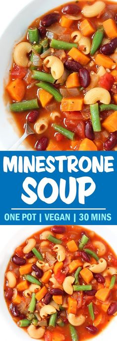 Just one pot and 10 ingredients for this super cozy weeknight meal - and so easy to customize! Healthy Vegan Minestrone Soup packed with beans, veggies, and pasta! An easy vegan weeknight meal that's super customizable. Easy Soup Recipes, Whole Food Recipes, Vegetarian Recipes, Cooking Recipes, Healthy Recipes, Vegetarian Vegetable Soup, Bean And Vegetable Soup, Vegan Recipes Easy Healthy, Vegan Recipes For One