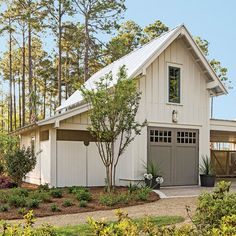 work space to left.Exterior: The Garage - Palmetto Bluff Idea House Photo Tour - Southern Living
