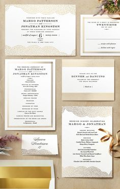 Classic vintage inspired wedding invitations with gold foil by Oscar and Emma on Minted.com