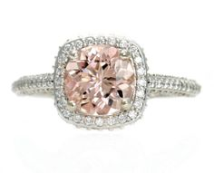 Palladium Morganite Engagement Ring Diamond Halo Setting Morganite Ring Custom Bridal Jewelry. $1,957.00, via Etsy.