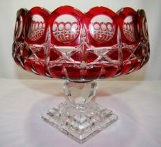 "Stunning Ireland Etched ""arena"" Ruby Red Cut to Clear Crystal Pedestal Bowl, 9"""
