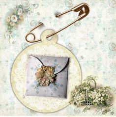 Daisies N Teal Card and Envelope  Circle Design