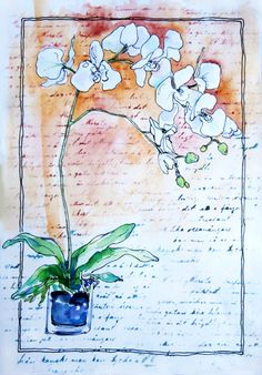 Orchid painting with acrylic and ink pen. by OldPenArtStudio on Etsy