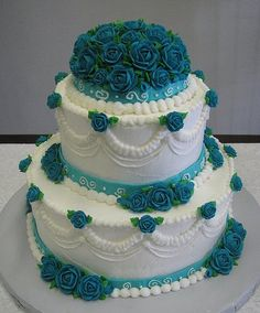 Design Wedding Cakes and Toppers: Vintage Wedding Cake Pictures Wedding Cake Roses, Fall Wedding Cakes, Wedding Cake Decorations, Wedding Cake Toppers, Blue Wedding, Wedding Ideas, Pretty Cakes, Beautiful Cakes, Amazing Cakes