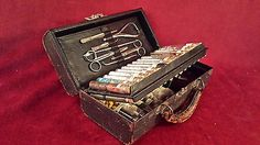 Antique+Pharmacist+Tools | ... antique doctors pharmacist bag complete with all tools vials equipment