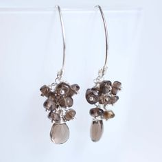 smoky quartz earrings sterling silver by Phaness on Etsy, $28.00