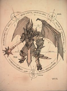 For the video introducing the Demon Prince for Albion Online I made a traditional pen drawing and page designs to be used in an ancient grimoire. Fantasy Demon, Fantasy Art, Rpg Horror, Aliens, Rpg Dice, Line Artwork, Demonology, Sand Crafts, Crafts For Boys