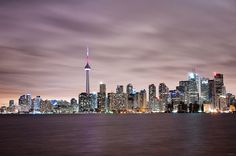 Purple Skyline by Joseph Qiu on Shot of downtown Toronto from Centre Island. Ontario, Grands Lacs, Centre Island, La Rive, Downtown Toronto, Toronto Canada, Future Travel, Cn Tower, Places Ive Been