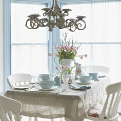 Pastel blue dining room | Dining room designs | Chndeliers | Housetohome