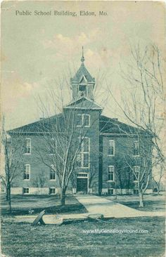 Eldon, Missouri, Public School Building, Miller County, MO, vintage postcard, postmarked 1910, historic photo