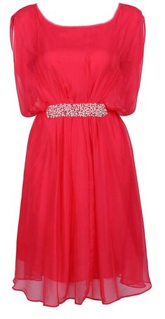 Red Silk + Pearls Embellished Belted Dress <3