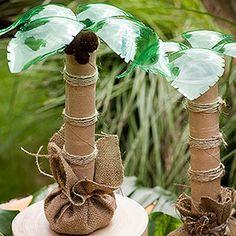 Palm Trees - paper towel tubes, twine, burlap, green 2-liter soda bottles