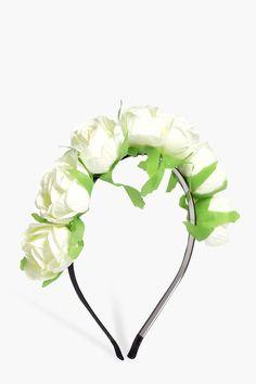 Leila White Floral Headband | Boohoo