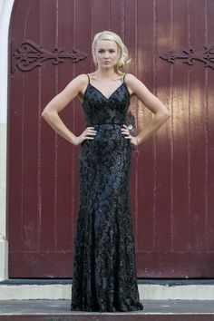 Mila Black Sequin Evening  Dress by Tania Olsen Designs