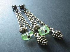 Green Peridot and Pine Cones Golden Bronze Post by CassieVision
