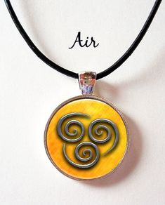 Last Airbender Elements Symbol Pendant with leather cord