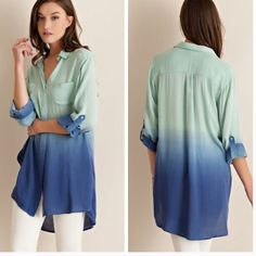 •ombré button down top• Button down top features ombré coloring and hi Lo style.  Sheer, non lined. Material is 100% rayon.  Small bust measures 40 inches, length in front 30 inches, back 34 inches.  Medium bust measures 42 inches, length in front 30 inches, back 34. Large bust measures 44, length in front 32, back 34. ❌Price firm unless bundled❌ Tops Button Down Shirts