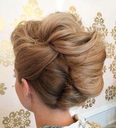 voluminous french twist for long hair