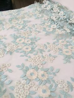 lace fabric with florals, bridal lace fabric, metallic blue lace fabric, embroidered lace fabric