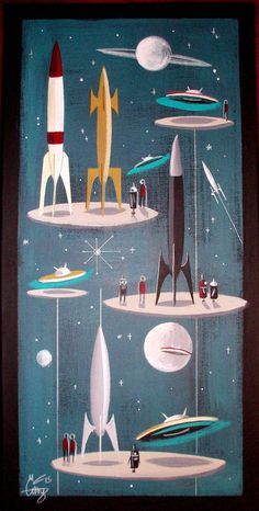 EL GATO GOMEZ PAINTING RETRO VINTAGE SCI-FI ROBOT ROCKET SPACE SHIP 1950S 1960S #Modernism