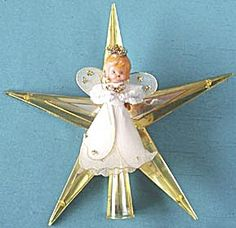 Vintage Plastic Star & Angel Tree Topper. Click the image for more information.