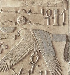 "God Horus of Behdet in His form of sacred falcon spreading His wings in protection and holding the 'Ankh' (Life). Detail from the White Chapel of King Sesostri I at 'Ipet-Sut' (""Karnak""), the highly sacred Precinct of the God Amon-Ra at 'Uaset'-Thebes Egyptian Mythology, Egyptian Symbols, Ancient Symbols, Egyptian Art, Egyptian Pharaohs, Mayan Symbols, Viking Symbols, Viking Runes, Ancient Artifacts"